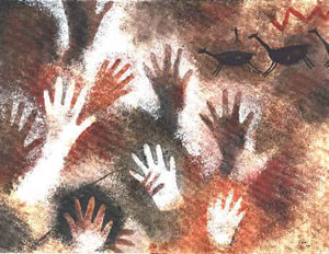 """""""Cueva de las manos"""" en La Patagonia; sobre el 13.000 a.C"""
