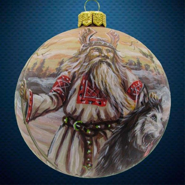 Стеклянный елочный винтажный шар из серии Древние Боги Белобог