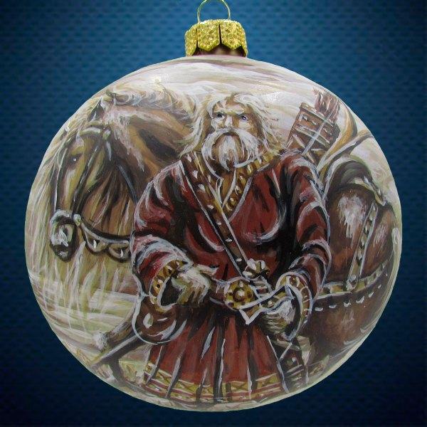 Стеклянный елочный винтажный шар из серии Древние Боги Богатырь