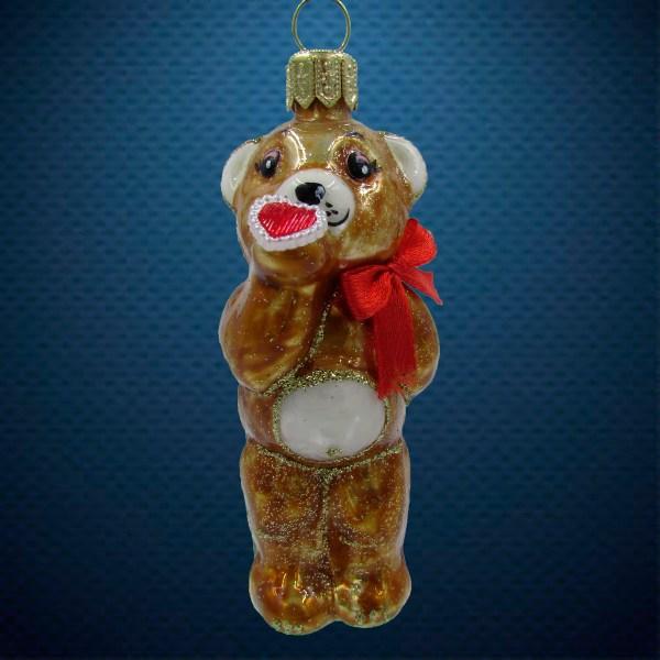 Стеклянная елочная игрушка Медвежонок с сердечком 1
