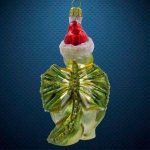 Стеклянная елочная игрушка Дракончик - санта 3