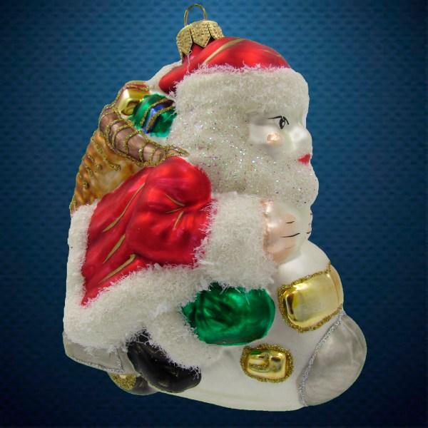 Стеклянная елочная игрушка Санта на снегоходе 1