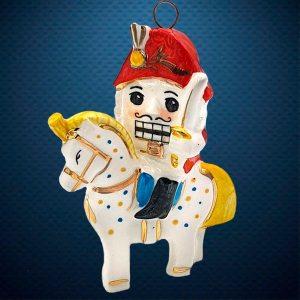Щелкунчик на коне Керамическая елочная игрушка из серии Ретро Фарфоровая