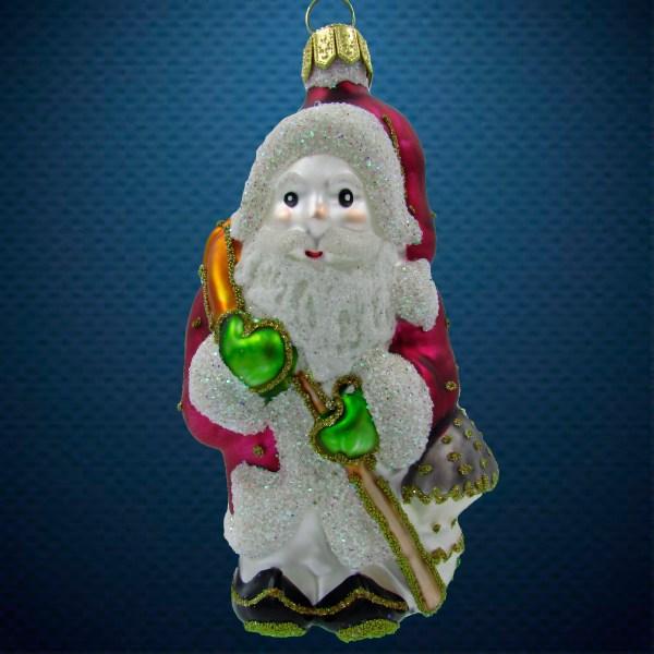 Стеклянная елочная игрушка Санта с мухомором 1
