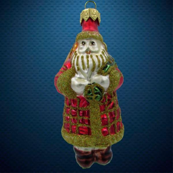 Стеклянная елочная игрушка Санта с мешком 1