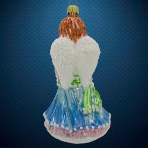 Стеклянная елочная игрушка Ангел с гармошкой 3