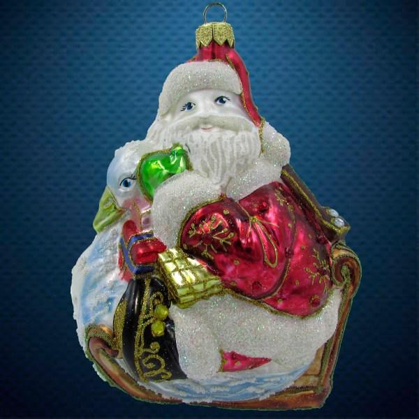Елочная игрушка Санта на лебеде, Irena Co