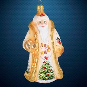 Стеклянная елочная игрушка фабрики Ариель Дед Мороз Акварель
