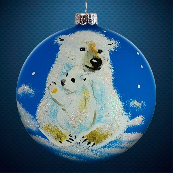 Стеклянный елочный винтажный шар из серии Птички и звери Белые медведи