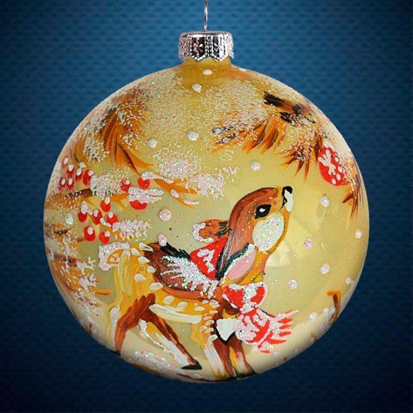 Стеклянный елочный винтажный шар из серии Птички и звери Олененок