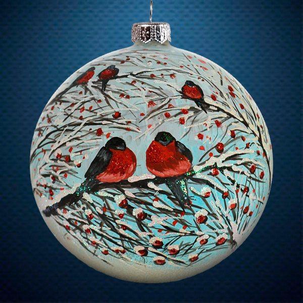 Стеклянный елочный винтажный шар из серии Птички и звери Снегири на ветке