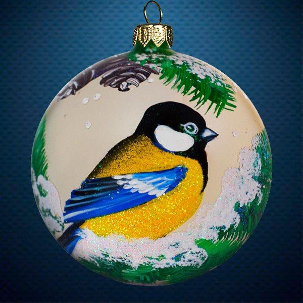 Стеклянный елочный винтажный шар из серии Птички и звери Синичка на ветке