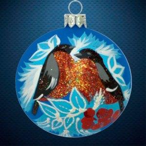 Стеклянный елочный винтажный шар из серии Птички и звери Снегири