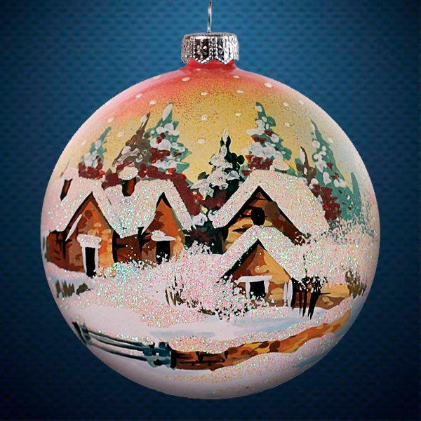 Стеклянный елочный винтажный шар После снегопада