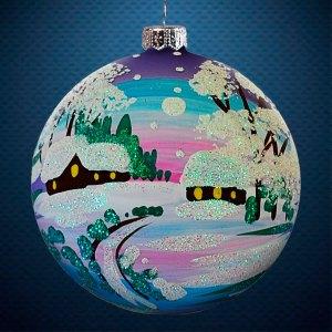 Стеклянный елочный винтажный шар Пейзажи Зимняя дорога