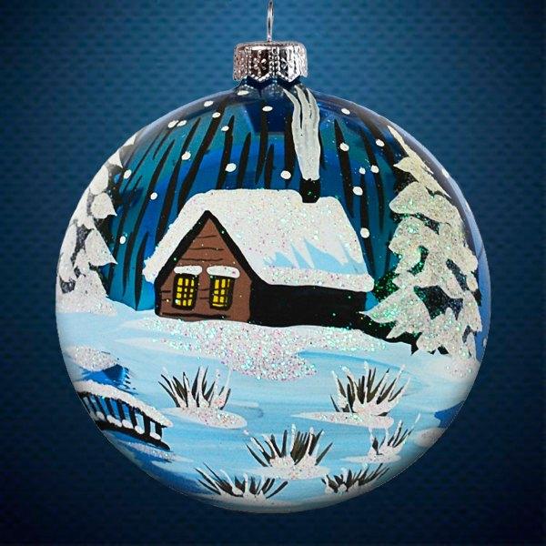 Стеклянный елочный винтажный шар Пейзажи Зимняя ночь