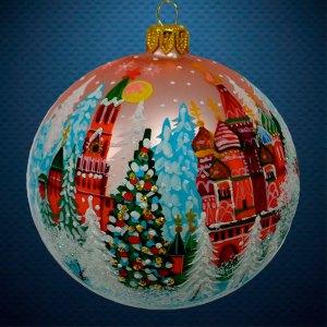 Стеклянный елочный винтажный шар Города мира Новый Год Москва