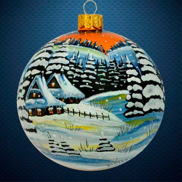 Стеклянный елочный винтажный шар Зима