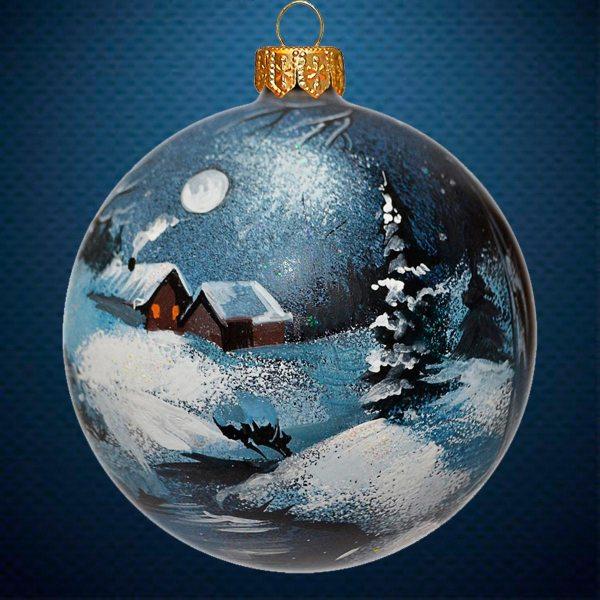 Стеклянный елочный винтажный шар Зимний сон
