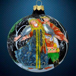 Стеклянный елочный винтажный шар Гуляния