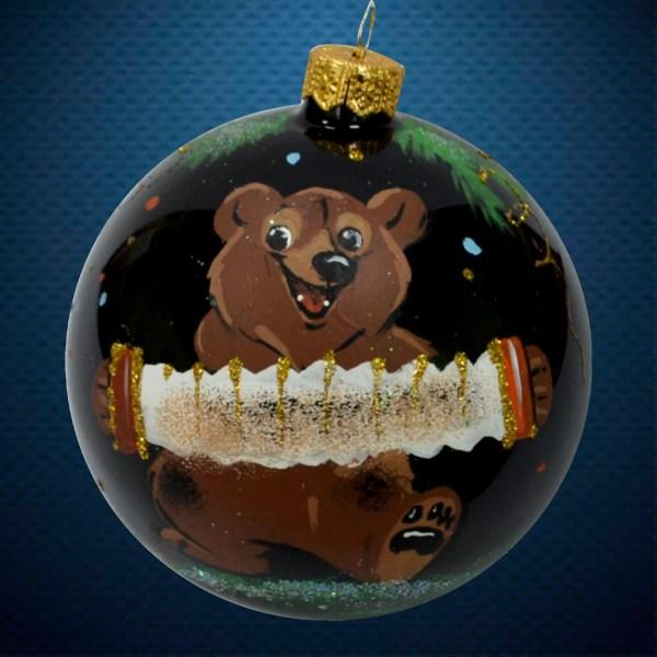Стеклянный елочный винтажный шар Медведь с гармонью