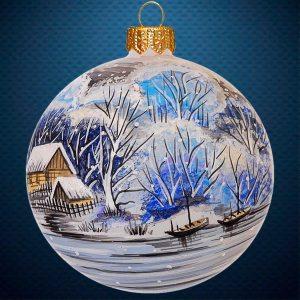 Стеклянный елочный винтажный шар На закате зимы