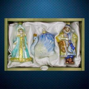 Набор стеклянных елочных игрушек ручной работы от Ирена Ко (Irena Co) Царевна Лебедь Царевич