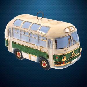 Автобус Керамическая елочная игрушка из серии Ретротехника Фарфоровая Мануфактура