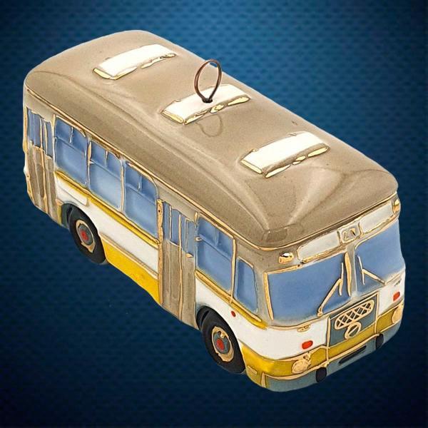 Автобус ЛИАЗ Керамическая елочная игрушка из серии Ретротехника Фарфоровая Мануфактура