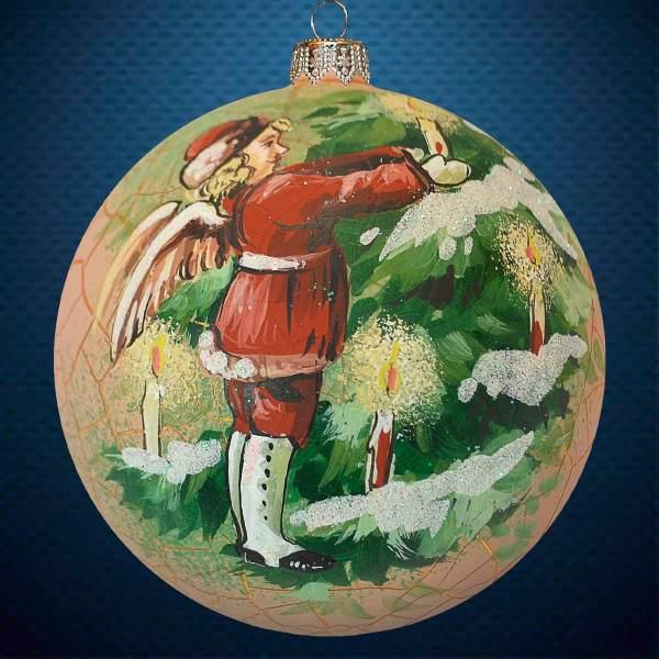 Стеклянный елочный винтажный шар Свечи на елке