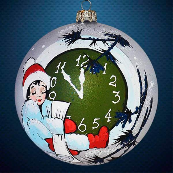 Стеклянный елочный винтажный шар Новый Год
