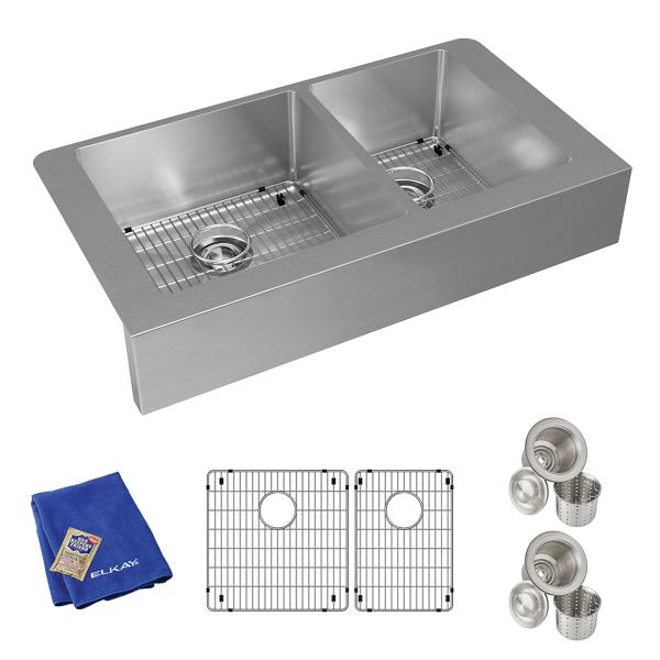 60 40 kitchen sink stainless steel cabinet elkay crosstown不锈钢35 7 8 x 20 1 4 9 40双碗农舍水槽套件 crosbetway电竞stown不锈钢图片35