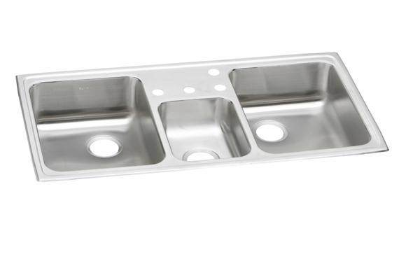 triple kitchen sink rustic wood island elkay celebrity stainless steel 43 34 x 22 7 1 8 image for