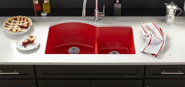 elkay kitchen sinks black cabinet quartz luxe maraschino
