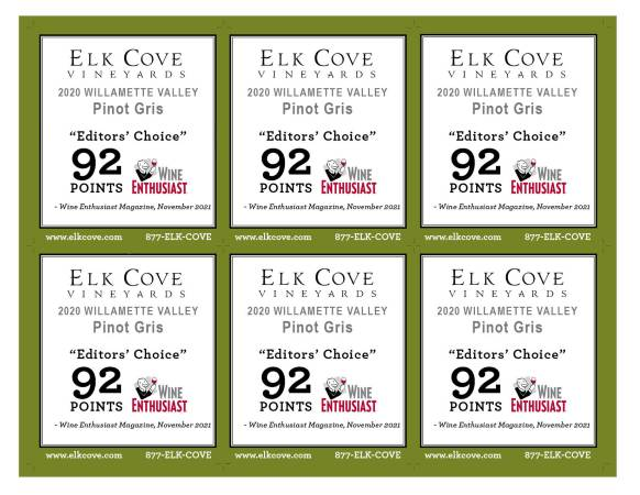 six shelf talkers for 92 points and editors choice in wine enthusiast magazine