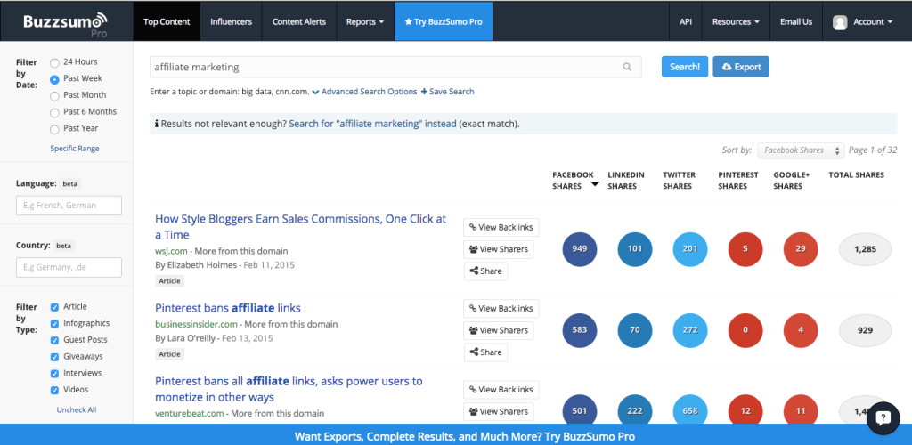 BuzzSumo finds trending articles on any subject