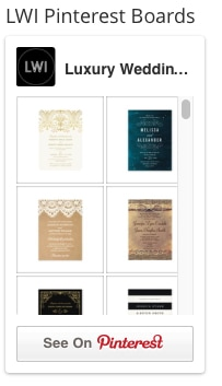 Pinterest board widget example from LuxuryWeddingInvites.com, my external website which promotes Zazzle wedding products