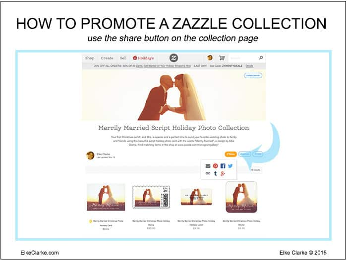 """How to Make Money Online Using Zazzle Collections. Use the """"Share"""" option on the collection page to share a Zazzle Collection on social media sites such as Pinterest, FaceBook, Twitter, Tumblr as well as in emails and on your blog an websites."""
