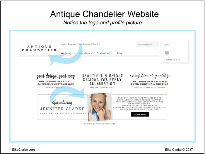 Antique Chandelier Website has the Same Business Branding with the Store Logo and Profile Photo as on My Zazzle Store