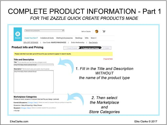 How to Complete Product Information for Zazzle Quick Create Part 1