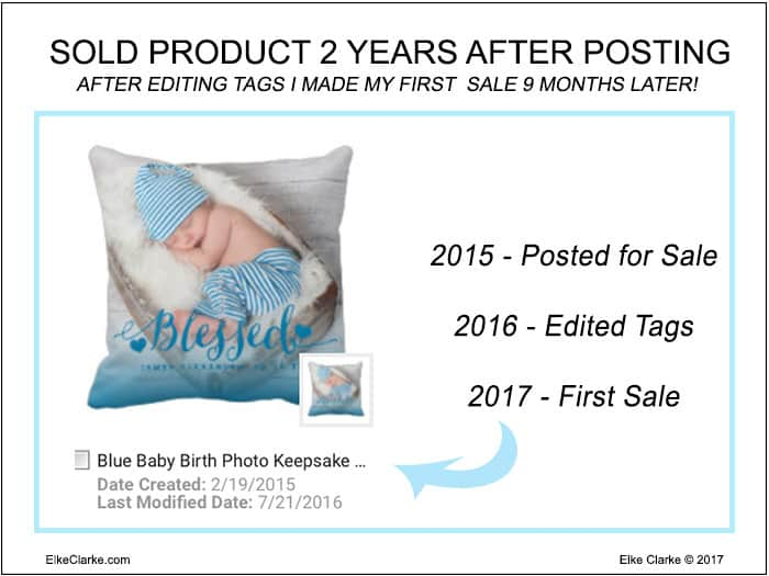 Sold Zazzle Product 2 Years After Posting For Sale and 9 Months After Editing Tags