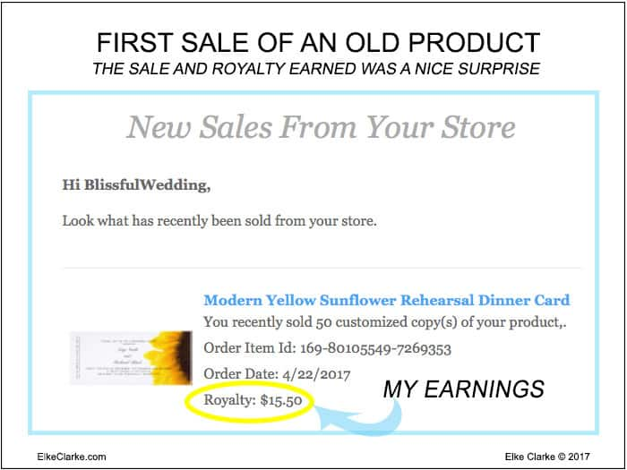 First Sale of an Old Zazzle Product 4 Years After Posting for Sale