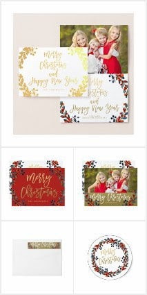 Gold Merry Christmas Script Red Berries