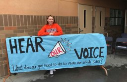 Grace Davis of Cosumnes Oaks High School poses with her sign on Walkout Wednesday  Photography Credit: Gary Davis, former Mayor of Elk Grove