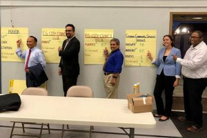 Mayor Steve Ly, City Council Candidate Andres Ramos, City Council Candidate Orlando Fuentes, and Cosumnes CSD Candidate Jaclyn Moreno pose with the club voting results