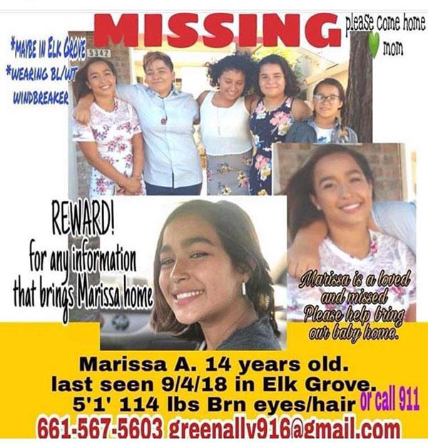 14 Year Old Girl Named Marissa Araiza Missing From Elk Grove