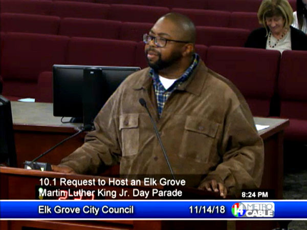Cosumnes Community Services District Board Director Rod Brewer speaks at the Elk Grove City Council Meeting November 14