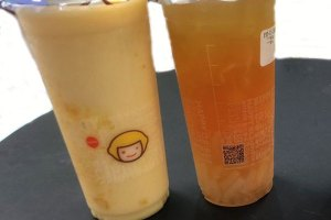 Mango Green Tea & Grapefruit Oolong with lychee jelly