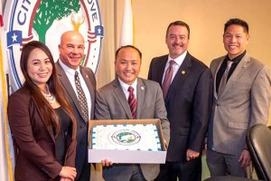 City Council Members Stephanie Nguyen, Steve Detrick, Mayor Steve Ly, Vice Mayor Pat Hume, and Darren SuenPhoto Credit: City of Elk Grove