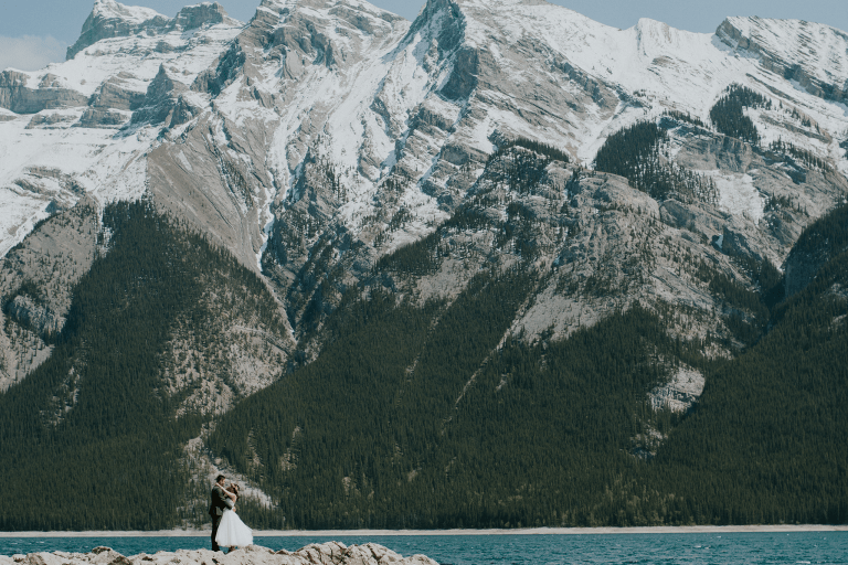 rustic mountain wedding at elkhorn lodge banff alberta and lake minnewanka